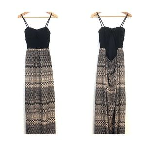 TRIXXI dress womens size medium black tan maxi geo